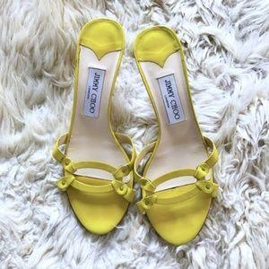 Jimmy Choo yellow leather kitten heel mule